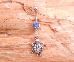belly button ring, turtle, and belly ring image