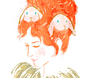 bunnies, hair, and orange image