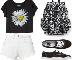 flowers, backpack, and Polyvore image