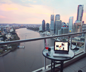 city, view, and laptop image