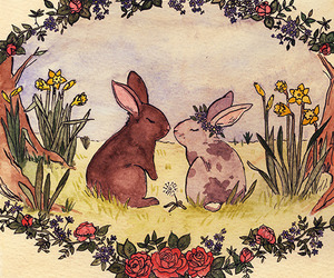 bunny, drawing, and flowers image