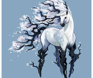 horse, art, and flowers image