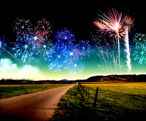 fireworks and road image