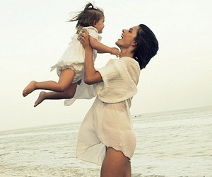 baby, beach, and mom image