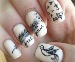 nails, nail art, and bird image