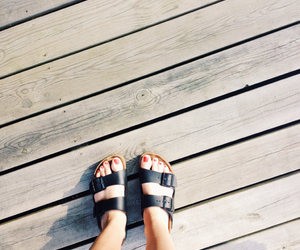 birkenstock, feets, and hipster image