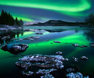 nature, aurora borealis, and green image