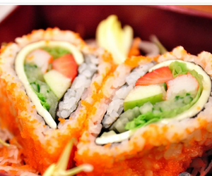 food, heart, and sushi image