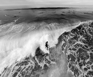 black and white, summer, and surf image