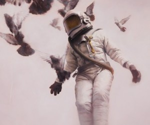 astronaut, birds, and photography image