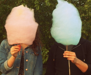 blue, candyfloss, and couple image