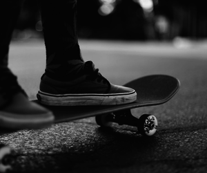 skate, black and white, and vans image
