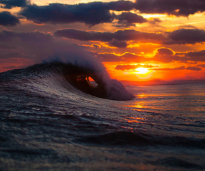 sunset, waves, and sea image