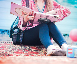 girl, pink, and book image