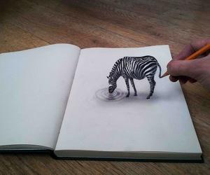 drawing, art, and zebra image