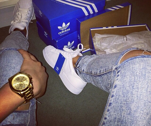 adidas, jeans, and white image