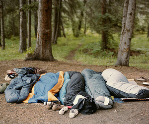 camping, friends, and sleeping bag image