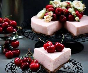 cake, sweet, and cherry image