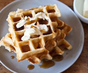food, dessert, and waffles image