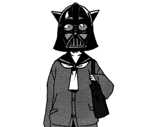 black and white, darth vader, and girl image