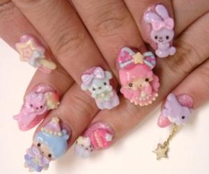 kawaii, nails, and bow image