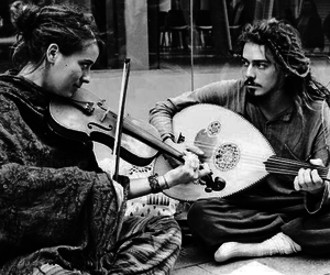 music, black and white, and couple image