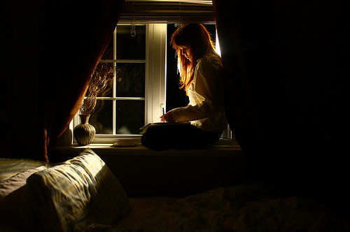 girl, night, and window image