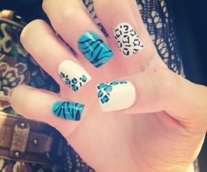 blue, nail art, and white image