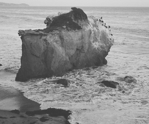 black and white, nature, and ocean image