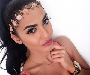flowers, hair, and lips image