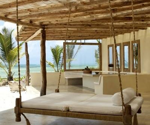 bed, beach, and house image