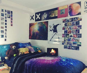 room, galaxy, and bedroom image