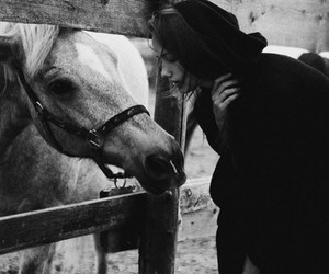 girl, horse, and black and white image