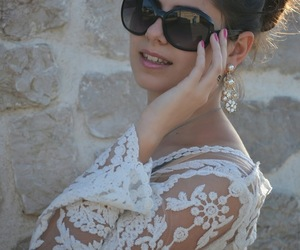 earring, fashion blogger, and lace image