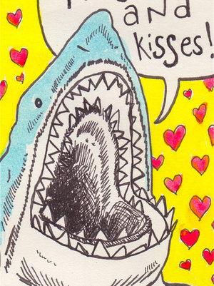 kiss, hug, and shark image