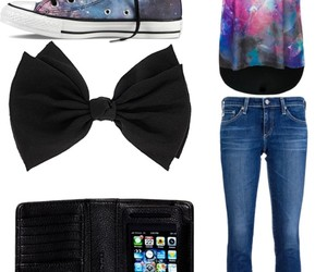 bow, converse, and galaxy image