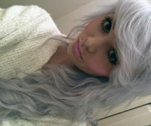 barbie, blue hair, and pink lips image