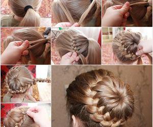 hair, hair bun, and braid bun image