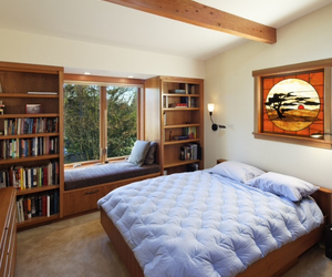 bed, books, and design image