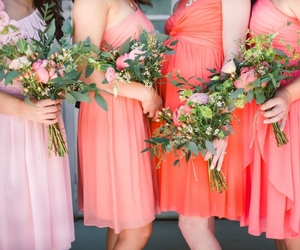 coral, prom dress, and fashion image