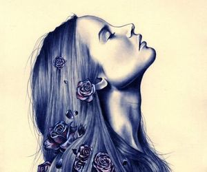 drawing, flowers, and hair image