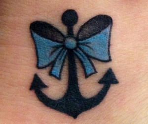 tattoo, anchor, and bow image