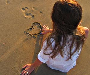 girl, heart, and beach image