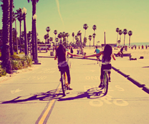 friends, beach, and bike image