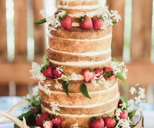 cake, wedding, and strawberry image