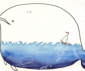 whale, sea, and art image