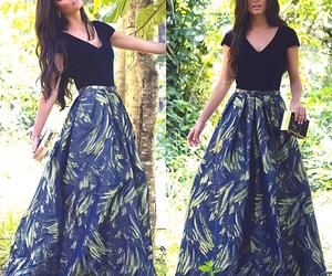black shirt, long skirt, and original image