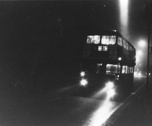 bus, black and white, and london image