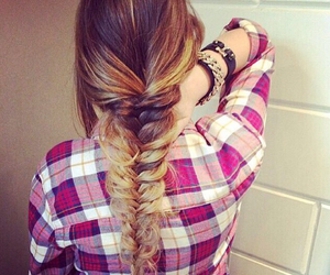 hair, hairstyle, and fishtail image