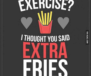 exercise, fries, and food image